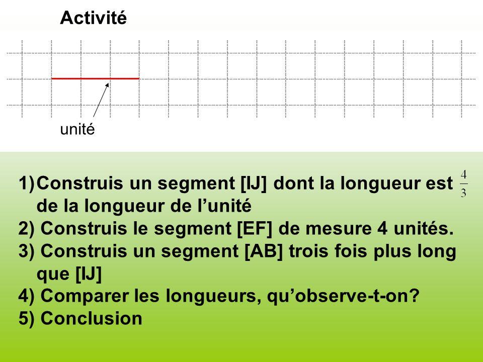 2) Construis le segment [EF] de mesure 4 unités.